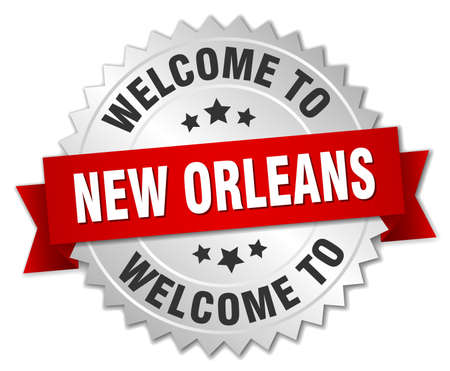 new orleans: New Orleans 3d silver badge with red ribbon