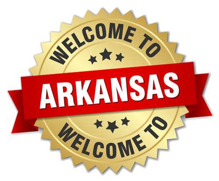 arkansas: Arkansas 3d gold badge with red ribbon Illustration