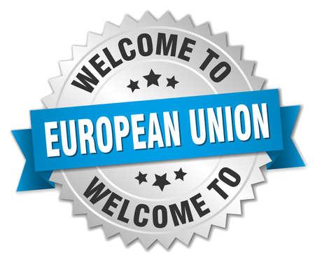 evropský: european union 3d silver badge with blue ribbon