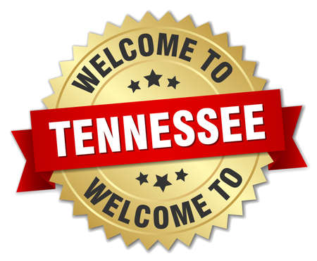 tennesse: Tennessee insignia 3d de oro con la cinta roja