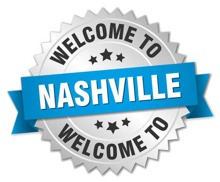 nashville: Nashville 3d silver badge with blue ribbon