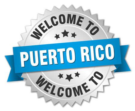 rico: Puerto Rico 3d silver badge with blue ribbon Illustration