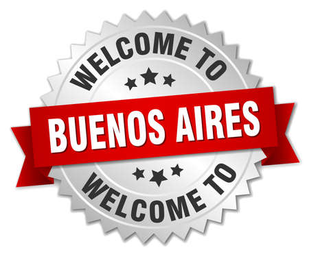 buenos aires: Buenos Aires 3d silver badge with red ribbon Illustration