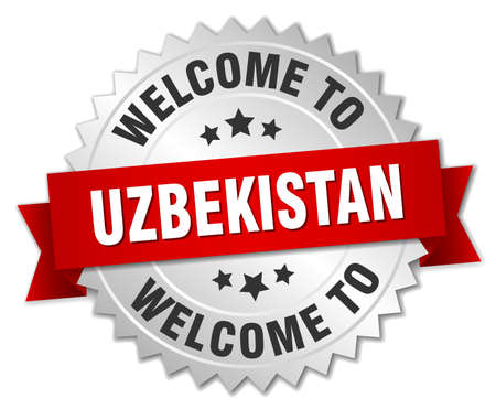 oezbekistan: Uzbekistan 3d silver badge with red ribbon