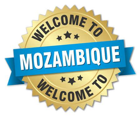 mozambique: Mozambique 3d gold badge with blue ribbon