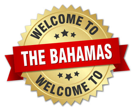 greet: The Bahamas 3d gold badge with red ribbon
