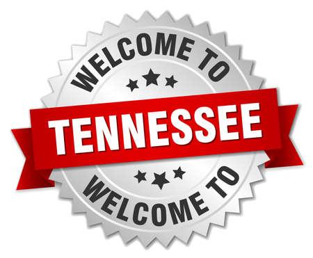 tennesse: Tennessee insignia 3d plata con la cinta roja
