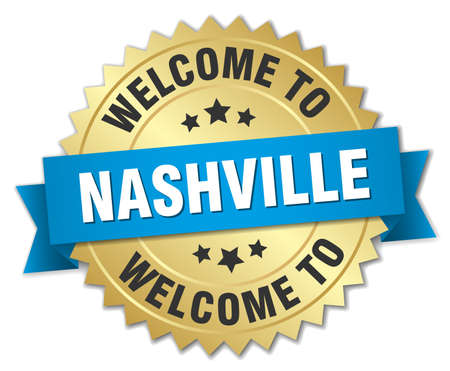 nashville: Nashville 3d gold badge with blue ribbon