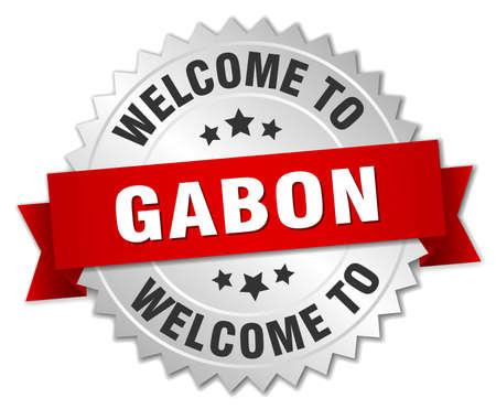 gabon: Gabon 3d silver badge with red ribbon