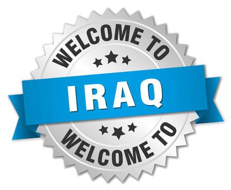 iraq: Iraq 3d silver badge with blue ribbon