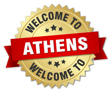 athens: Athens 3d gold badge with red ribbon Illustration