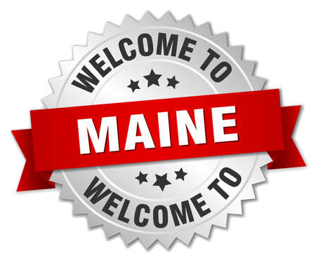 maine: Maine 3d silver badge with red ribbon
