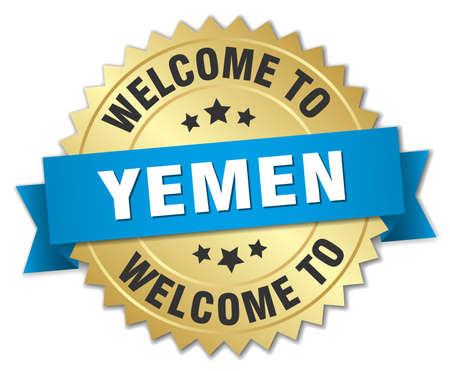 yemen: Yemen 3d gold badge with blue ribbon Illustration