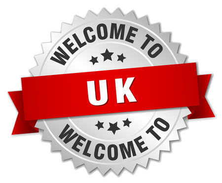 uk: uk 3d silver badge with red ribbon
