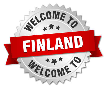 finland: Finland 3d silver badge with red ribbon Illustration