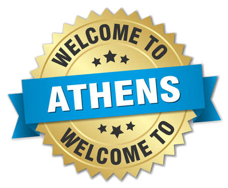 athens: Athens 3d gold badge with blue ribbon