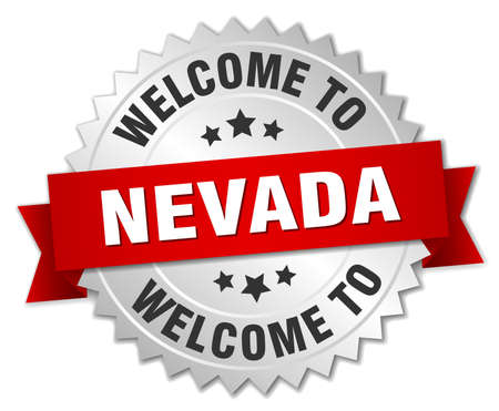 nevada: Nevada 3d silver badge with red ribbon