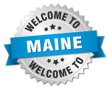 maine: Maine 3d silver badge with blue ribbon