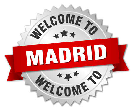 madrid: Madrid 3d silver badge with red ribbon