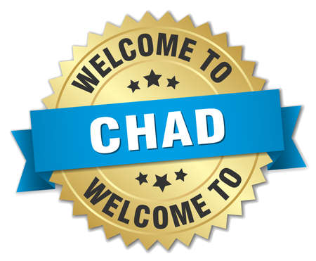 tchad: Chad 3d gold badge with blue ribbon