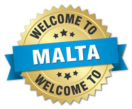 malta: Malta 3d gold badge with blue ribbon