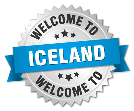 iceland: Iceland 3d silver badge with blue ribbon