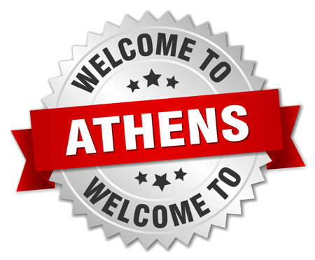 athens: Athens 3d silver badge with red ribbon