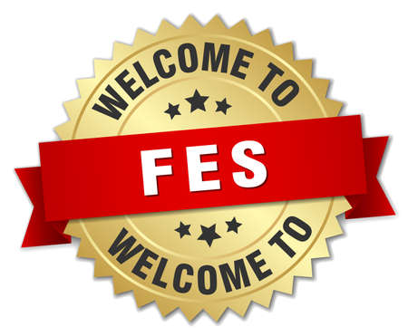 fes: Fes 3d gold badge with red ribbon Illustration