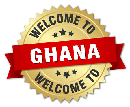 ghana: Ghana 3d gold badge with red ribbon