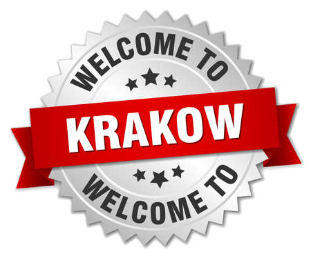 krakow: Krakow 3d silver badge with red ribbon