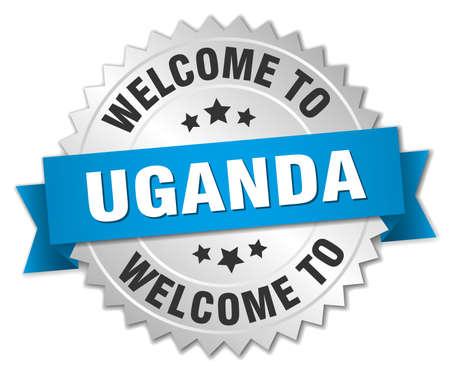 uganda: Uganda 3d silver badge with blue ribbon