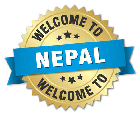 nepal: Nepal 3d gold badge with blue ribbon