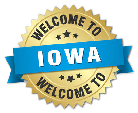 iowa: Iowa 3d gold badge with blue ribbon