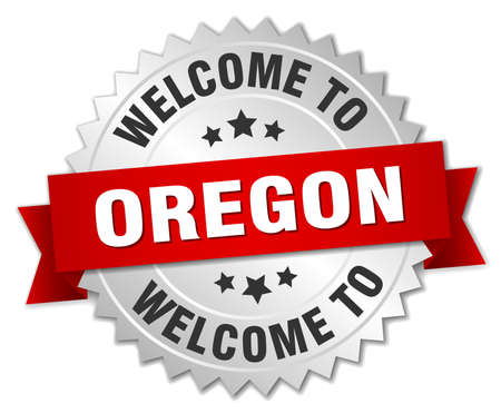 greet: Oregon 3d silver badge with red ribbon