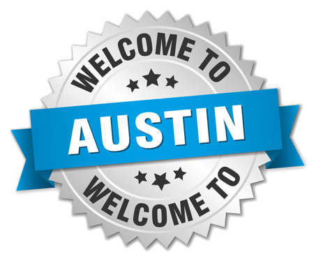 austin: Austin 3d silver badge with blue ribbon Illustration