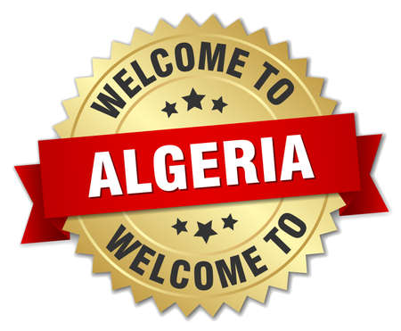 greet: Algeria 3d gold badge with red ribbon