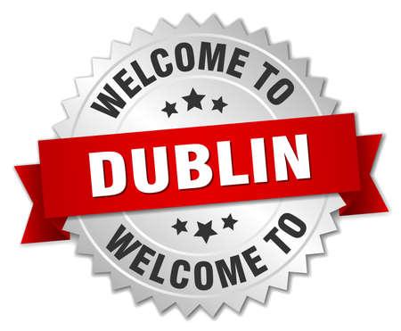 dublin: Dublin 3d silver badge with red ribbon