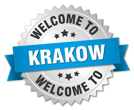 krakow: Krakow 3d silver badge with blue ribbon Illustration
