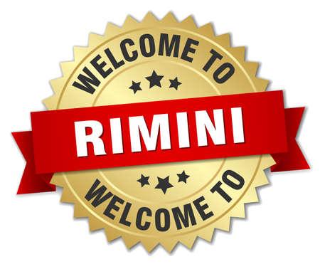 rimini: Rimini 3d gold badge with red ribbon