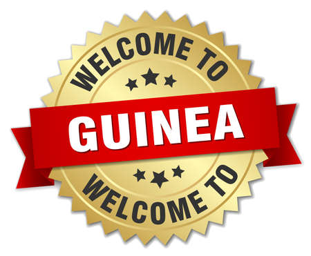 guinea: Guinea 3d gold badge with red ribbon