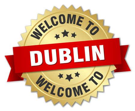 dublin: Dublin 3d gold badge with red ribbon