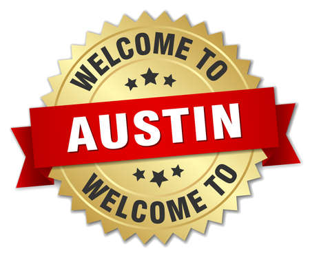 austin: Austin 3d gold badge with red ribbon