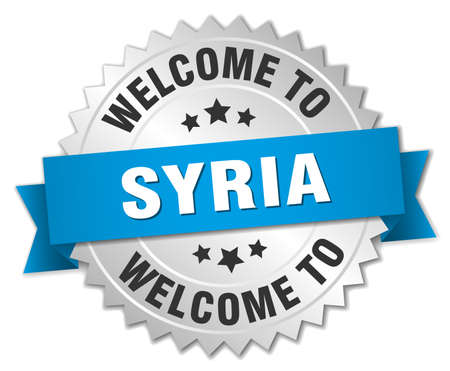 syria: Syria 3d silver badge with blue ribbon
