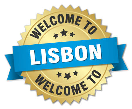 lisbon: Lisbon 3d gold badge with blue ribbon
