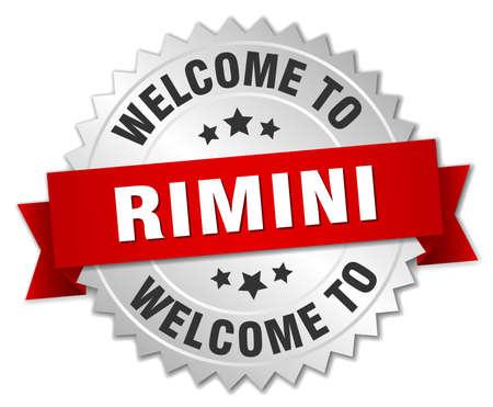rimini: Rimini 3d silver badge with red ribbon