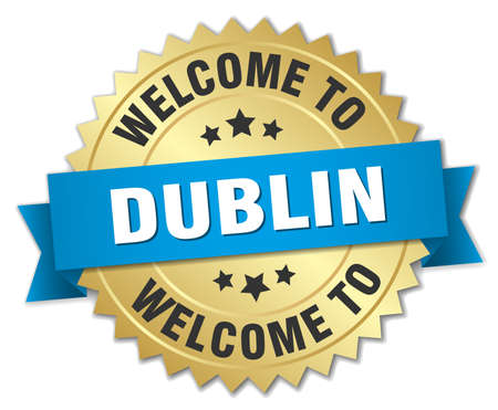 greet: Dublin 3d gold badge with blue ribbon