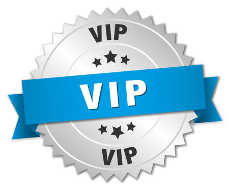 vip badge: vip 3d silver badge with blue ribbon