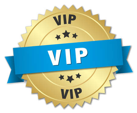 vip badge: vip 3d gold badge with blue ribbon