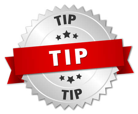 tip to tip: tip 3d silver badge with red ribbon Illustration