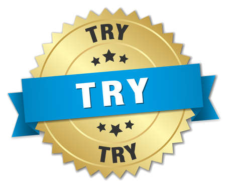 try: try 3d gold badge with blue ribbon